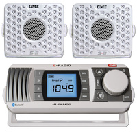 GME GR300 AM FM VHF Marine Radio reciever+ 2 Speakers White GR300WEP GR300BTWEP image