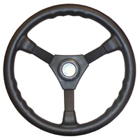 "Boat Sports Steering Wheel Black. 3-Spoke 340MM / 13 Inches. 3/4"" Tapered Shaft image"