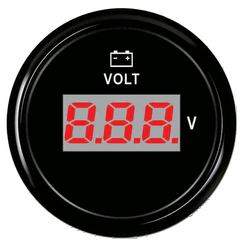 "ECMS Digital Voltmeter 8-32V -  Black on Black - 2"" 52MM 12V Volt Meter"