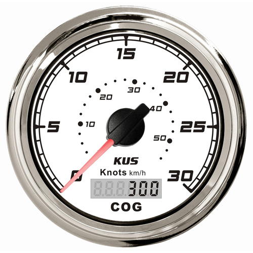 KUS GPS Speedometer Gauge 55kph 30Knots - White & Chrome  - 85MM Boat Marine 12V or 24V