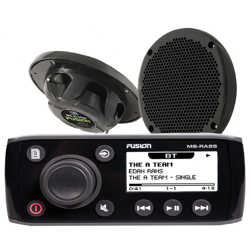 Fusion - RA55 - Marine Stereo + 2 Black Speakers + Bluetooth Radio MS-RA55KTSA